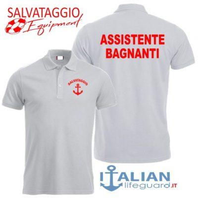 italian-lifeguard-polo-uomo-bianca-assistente bagnanti-ancora