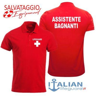 italian-lifeguard-polo-uomo-rossa-assistente bagnanti-croce