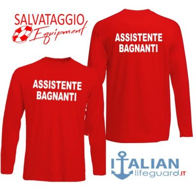 italian-lifeguard-t-shirt-m.lunga-rossa-uomo-assistente bagnanti-fr