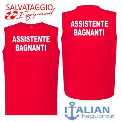 italian-lifeguard-t-shirt-smanicato-uomo-rossa-assistente bagnanti fr